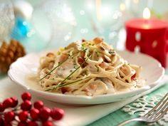 Spaguetti con salsa de champiñones y tocino