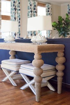 Diy behind the couch table with twill. Perfect for nautical or vintage room.
