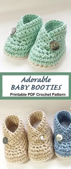 Baby Booties Crochet pattern - A Crafty Life Looking for a cute baby gift? Try these Baby Booties Crochet Patterns. They will make an adorable presents. There are many different styles Crochet Baby Socks, Crochet Baby Sandals, Crochet Bebe, Booties Crochet, Crochet Baby Clothes, Baby Knitting, Crochet For Baby, Newborn Crochet Hats, Crochet Baby Stuff