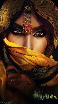 An exotic beauty hiding behind a veil. but is it just her face she's hiding? Beautiful Eyes, Beautiful People, Amazing Eyes, Stunningly Beautiful, Gorgeous Women, Arabic Makeup, Exotic Beauties, Foto Art, Arabian Nights