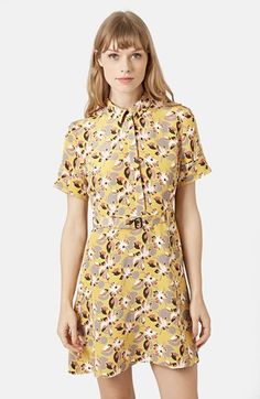Topshop Floral Print Belted Silk Dress #yellow