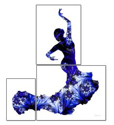 Flamenco dancer print fractal flamenco art blue by FluidDiamondArt