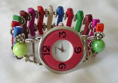 Bright MultiiiColored Flat Beaded Watch Band with by BeadsnTime, $30.00