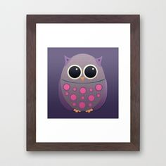 Purple and Pink Owl  Framed Art Print
