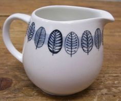 Arabia Linnea Mini Creamer Finland White Blue Leaf Leaves