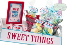 Sweet treats! www.thesweettreatco.com Dublin, Ireland. Two Tier Cake, Blue And White Fabric, Ice Cream Cookies, Blue Color Schemes, Ice Cream Party, Food Labels, Party Signs, Tiered Cakes, Party Cakes