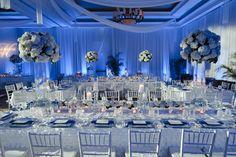 Blue and white wedding in Hunter Ballroom Wedding Reception by Botanica #wedding #weddingdecor #weddingflowers #Botanica