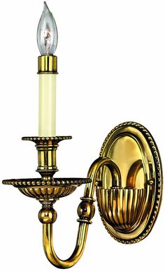 "0-010376>5""""w Cambridge 1-Light Wall Sconce Burnished Brass"