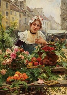 Louis Marie de Schryver (French artist, 1862-1942) The Flower Seller