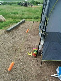 Keep tent ropes visible with noodle visibility.........  So I don't trip over them.