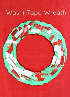 Washi Tape Wreath Christmas Craft for Kids...great fine motor practice for toddlers and preschoolers