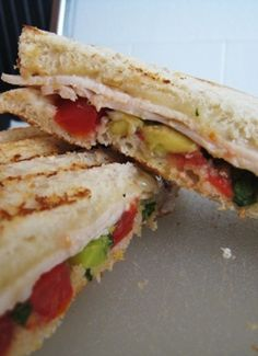 Turkey Panini with Avocado Salsa! Great health recipe that is perfect for lunch time! Make sure to use low-fat cheese and wheat bread to make this as healthy as possible! | good cheap eats