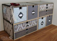 Altered IKEA Mackis storage- good idea for the babies room for more clothes storage Ikea Drawers, Wooden Drawers, Ikea Storage, Craft Room Storage, Storage Boxes, Ikea Boxes, Scrapbook Storage, Altered Boxes, Altered Art