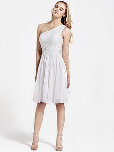 0522879153 Cross Pleat One Shoulder Chiffon Bridesmaid Dress - Barely Pink. Vintage  Bridesmaid ...