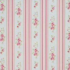 Floral Stripe - Duckegg - Pale blue cotton fabric with pink and red stripe pattern and vintage floral motifs