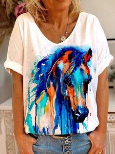 Printed Blouse, Printed Shorts, Harajuku, Horse T Shirts, Shirt Bluse, Short Shirts, Horse Head, Summer Tops, Popular