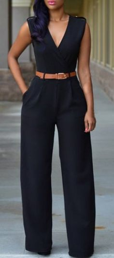 Black Casual Belted V Neck Long Pants Jumpsuit For Women - Outfit Ideen Rompers Women, Jumpsuits For Women, Fashion Jumpsuits, Womens Jumpsuits Formal, Jumpsuits And Rompers, Playsuits, Mode Outfits, Casual Outfits, Casual Wear