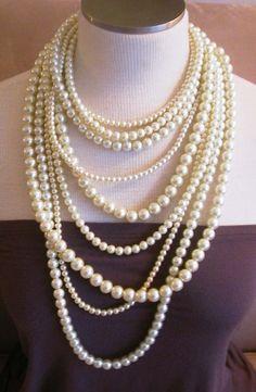 Coco Sophia  Ivory Swarovski Pearl multistrand by BouvierJewelry, $198.00