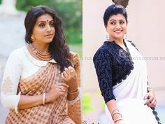 At age Roja Steals the Show with Her Saree Style! Saree Jacket Designs, Pattu Saree Blouse Designs, Salwar Designs, Blouse Back Neck Designs, Stylish Blouse Design, Fancy Blouse Designs, Indian Designer Suits, Designer Wear, Party Wear Lehenga