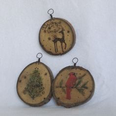 NEW set of (3) holiday painted, wood burned cookie ornaments in gift/storage box - kid friendly. $18.00, via Etsy.