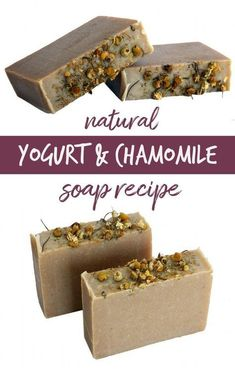 DIY Yogurt Soap with Chamomile! This all natural homemade yogurt soap recipe is handcrafted using the cold process soapmaking method. Made from a combination of real Greek yogurt, lavender & chamomile flower powders, and moisturizing blend of butters, this yogurt soap is the perfect treat for dry skin! #yogurt #soap #soapmaking #diy #skincare #beauty #natural #artisansoap #naturalskincare #soaprecipe #naturalsoap #naturalsoaprecipes