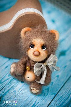 Zik  little teddy neddle felted by mumastudio on Etsy