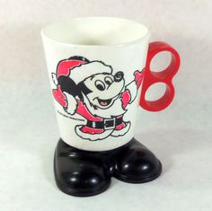 Vintage Mickey Mouse Santa Two Finger Cup, Mug on Etsy, $8.00