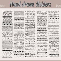Hand drawn dividers royalty-free hand drawn dividers stock vector art & more images of arrow symbol Bullet Journal Dividers, Bullet Journal Banner, Bullet Journal Notebook, Doodle Borders, Doodle Patterns, Lettering Tutorial, Hand Lettering, Lettering Styles, Draw Dividers