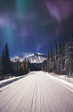 Beautiful! Northern Lights Over A Snowy Road • #Alaska • by Carson Ganci