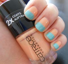 color-blocking peach-blue