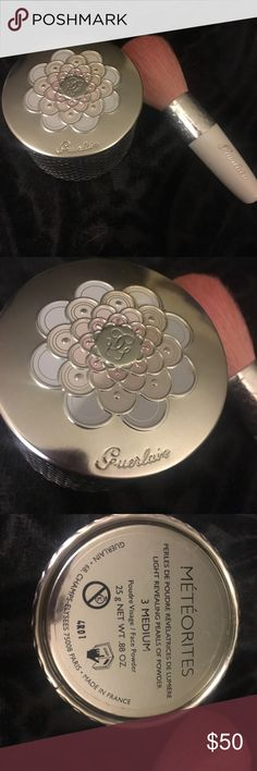 Guerlain Meteorites/Brush - Price cut today only! Tested only a few times. There is some discoloration on the lid from being in my vanity. Brush was never used. I have fair skin and found this to have a nice peachy-pink glow. guerlain Makeup Luminizer