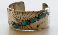 VINTAGE NAVAJO STERLING Silver Turquoise by TheButterflyBoxdeitz, $138.00