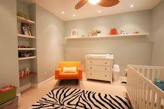 Grey/white/orange baby room