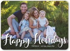 Festive Overlay Holiday Card, Rounded Corners, White