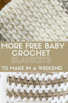 The baby crochet blanket patterns were carefully selected to be quick and easy. And beginner friendly. Seriously, all the blankets can be made in a weekend or at least a week if you work on it! Just think how chuffed a new Mom will be to receive something handmade at her baby shower! Crochet Afghans, Crochet Baby Blanket Beginner, Easy Baby Blanket, Afghan Crochet Patterns, Crochet Blankets, Baby Afghans, Fleece Baby Blankets, Beginner Crochet, Quilt Pattern