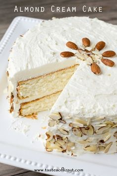 Almond Cream Cake >> by Tastes of Lizzy T's. Light, moist and velvety, this Almond Cream Cake has a homemade cooked, whipped frosting that pairs perfectly with the almond cake. Decorate the cake simply with sliced almonds. Good Cake for holiday Just Desserts, Delicious Desserts, Dessert Recipes, Almond Cake Recipes, Almond Torte Cake Recipe, Frosting Recipes, Easter Recipes, Italian Almond Cream Cake Recipe, Almond Whipped Cream