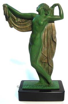 French Art Deco Figural Female Statue  Sculptor: Pierre Le Faguays  Circa 1920's, France