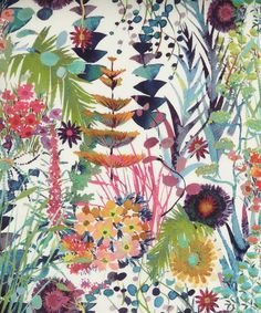 Tresco C Liberty of London Tana Lawn Fabric  Tresco, a fabulously splashy floral, luscious foliage, wonderful colours, from the NEW Spring Summer 2013 Liberty of London collection.