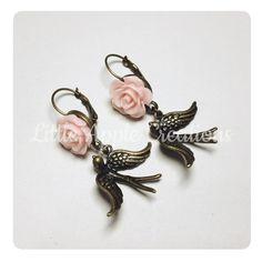 Roses Birds Retró earrings FREE SHIPPING by LittleAppleCreations