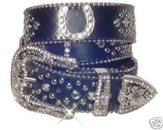 """HORSE SHOE HORSESHOE BLACK WESTERN RHINESTONE CRYSTAL BLING BELT (: (technically not """"tack"""" but horses and belts can go hand in hand.)"""
