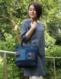 藍染古布 キルティングトートバッグの画像2枚目
