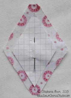 English Paper Piecing tutorial: stitching a patchwork star with diamonds. © Stephanie Boon, Dawn Chorus Studio, 2013