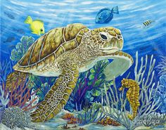 Logging Sea Time by Danielle Perry ~ sea turtle sea horse tropical fish