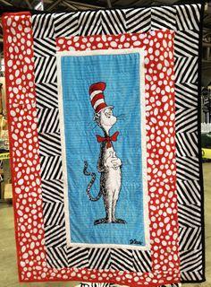 Cat Panel quilt The Cat In The Hat Cuddle Room- Intl. Quilt Market Spring 2012