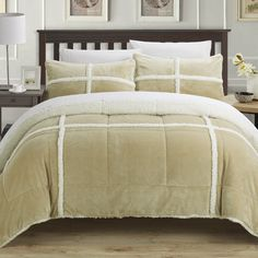 Chic Home 7 Piece Cindy Mink Sherpa Lined King Comforter Set& Taupe with Sheet Set Queen Comforter Sets, Bedding Sets, Online Bedding Stores, Bed In A Bag, Flat Sheets, Bed Spreads, Sheet Sets, Comforters, Pillows