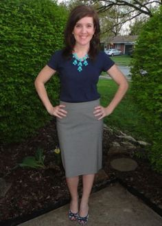 blue shirt pencil skirt - Google Search