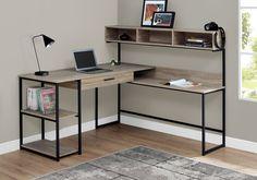 Taupe & Black Metal L-Shaped Corner Desk – home office design layout Steel Furniture, Office Furniture, Diy Furniture, Furniture Design, Furniture Websites, Inexpensive Furniture, Desk Office, Furniture Movers, Furniture Removal