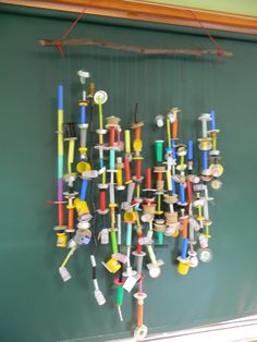 Recycled bits and pieces threading activity for preschoolers