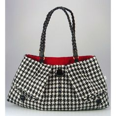 Classic Houndstooth Purse, altered clothing couture upcycled houndstooth wool jacket, $84