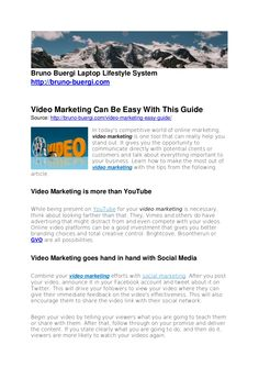 video-marketing-can-be-easy-with-this-guide by Bruno Bürgi via Slideshare Online Marketing, Articles, Canning, World, Easy, The World, Home Canning, Conservation